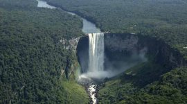 An aerial view of Kaieteur Falls in southern Guyana